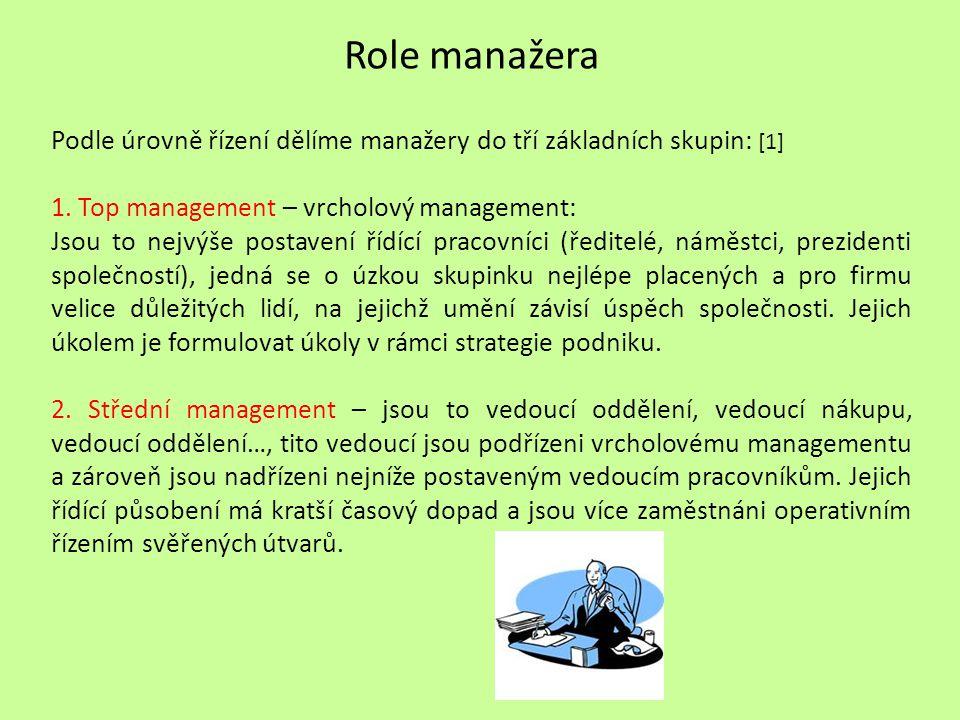 Role manažera Podle úrovně řízení dělíme manažery do tří základních skupin: [1] 1. Top management – vrcholový management: